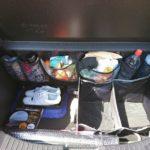 マツダ デミオに収納スペースを追加。カー用品や小物をお手軽に収納できるシートバックポケット。
